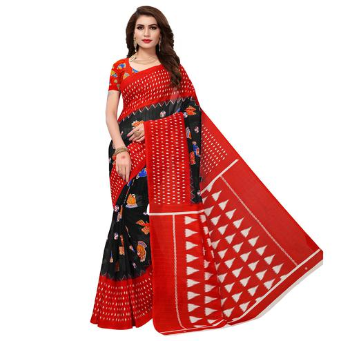 Alluring Unique Black Colored Casual Wear Printed Bhagalpuri Silk Saree