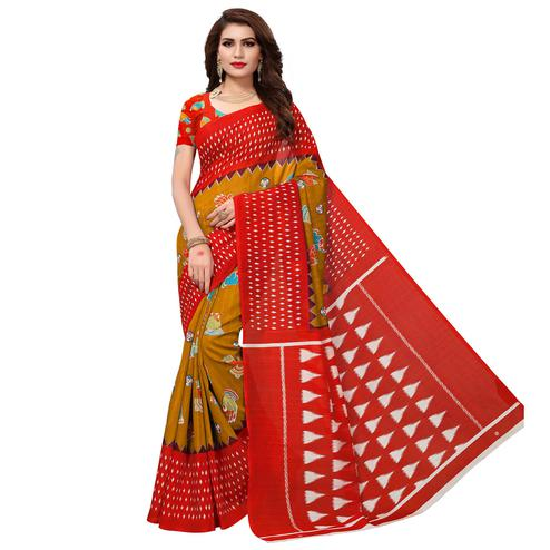 Sensational Elegant Rust Orange Colored Casual Wear Printed Bhagalpuri Silk Saree