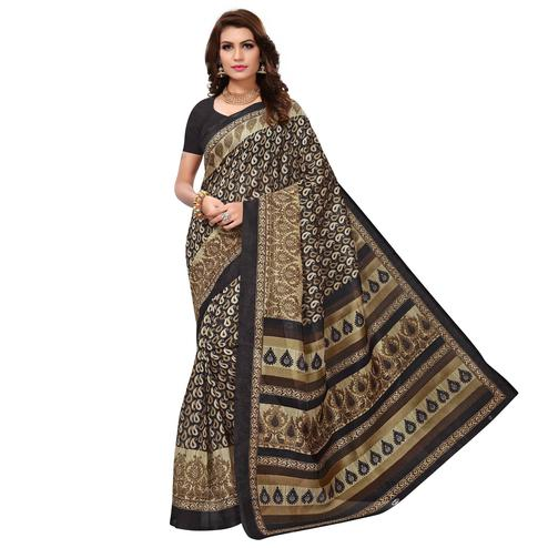 Dazzling Black Colored Casual Wear Printed Bhagalpuri Silk Saree