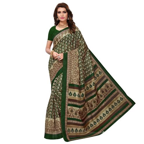 Flattering Green Colored Casual Wear Printed Bhagalpuri Silk Saree