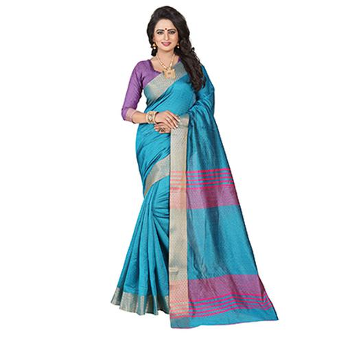 Beautiful Firozi Festive Wear Jacquard Saree