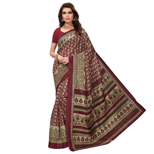 Breathtaking Maroon Colored Casual Wear Printed Bhagalpuri Silk Saree