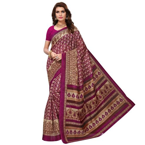 Impressive Pink Colored Casual Wear Printed Bhagalpuri Silk Saree