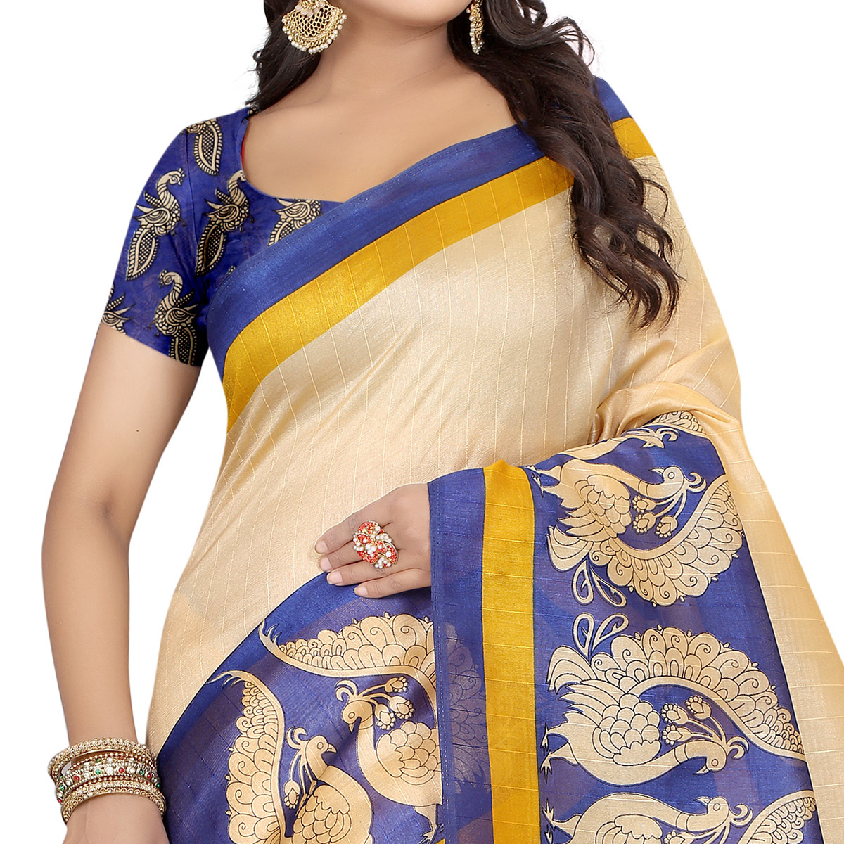Innovative Beige - Blue Colored Casual Wear Printed Bhagalpuri Silk Saree