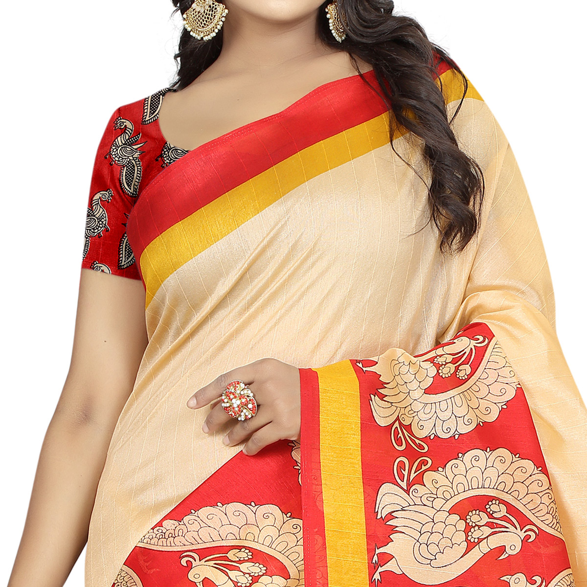 Gleaming Beige - Red Colored Casual Wear Printed Bhagalpuri Silk Saree