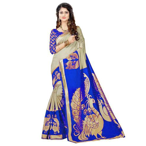 Arresting Grey - Blue Colored Casual Wear Printed Bhagalpuri Silk Saree