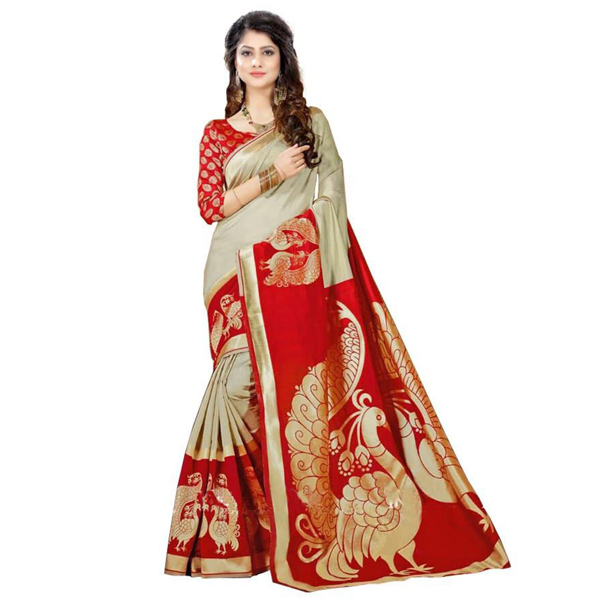 Exceptional Grey - Red Colored Casual Wear Printed Bhagalpuri Silk Saree