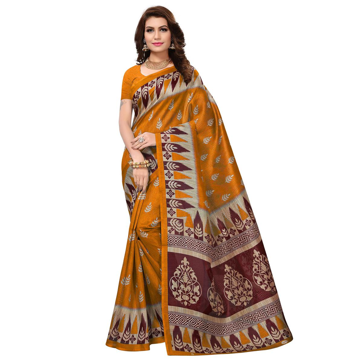 Excellent Mustard Yellow Colored Casual Wear Printed Bhagalpuri Silk Saree