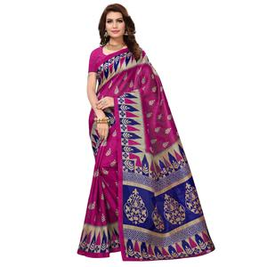 Ethnic Pink Colored Casual Wear Printed Bhagalpuri Silk Saree