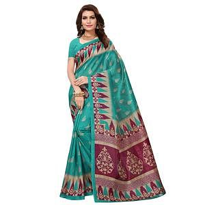 Starring Rama Green Colored Casual Wear Printed Bhagalpuri Silk Saree