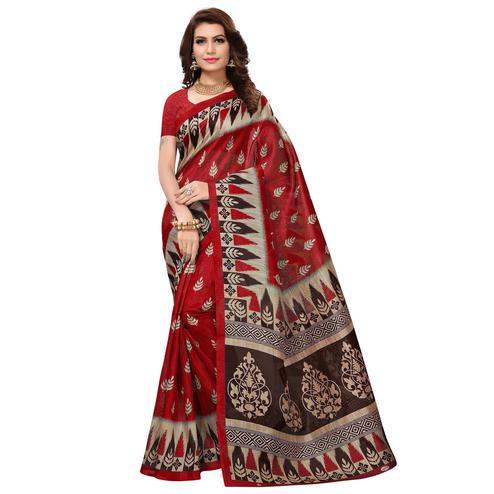 Flirty Red Colored Casual Wear Printed Bhagalpuri Silk Saree