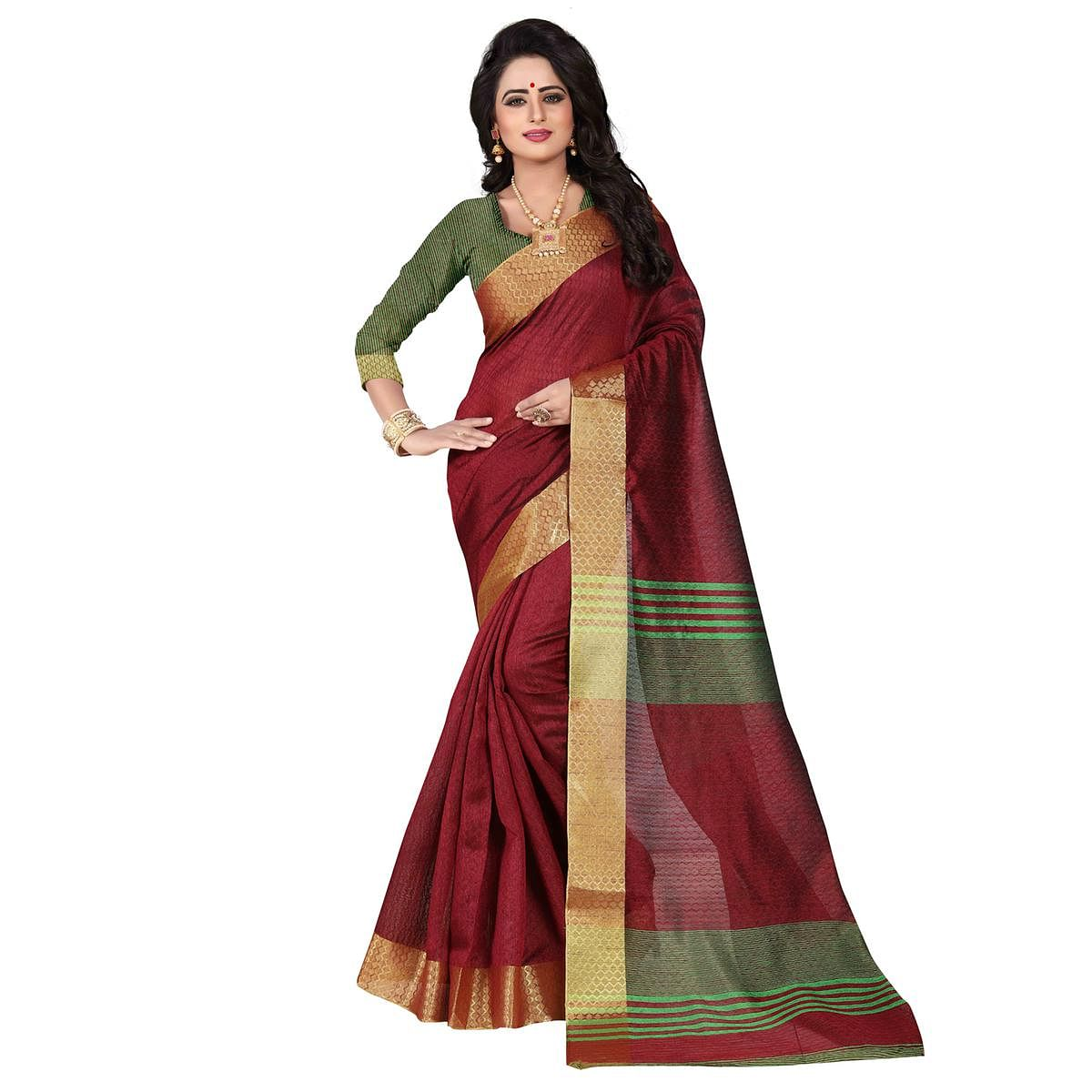Adorable Maroon Festive Wear Jacquard Saree