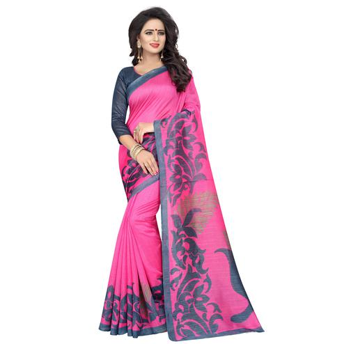 Glowing Pink Colored Casual Wear Printed Bhagalpuri Silk Saree