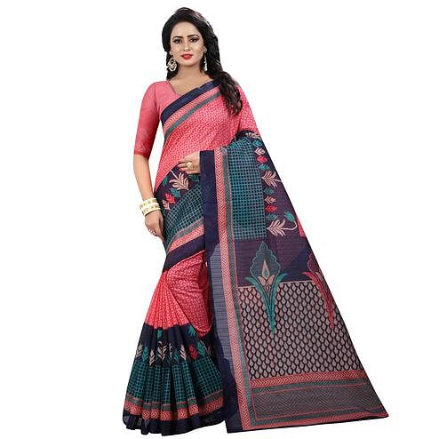 Hypnotic Pink Colored Casual Wear Printed Bhagalpuri Silk Saree