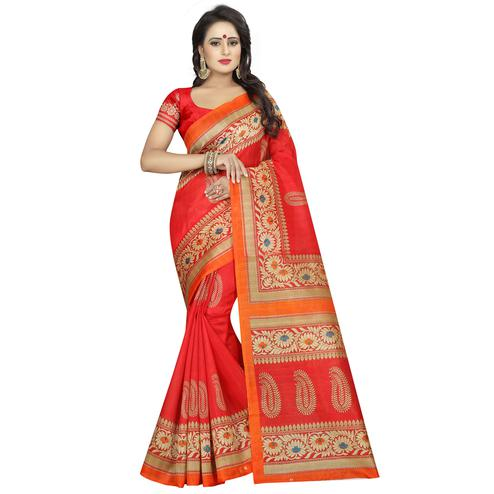 Trendy Red Colored Casual Wear Printed Bhagalpuri Silk Saree