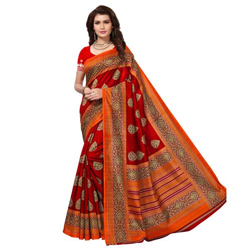 Magnetic Dark Red Colored Casual Wear Printed Bhagalpuri Silk Saree