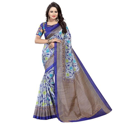 Energetic Grey - Navy Blue Colored Casual Wear Printed Bhagalpuri Silk Saree