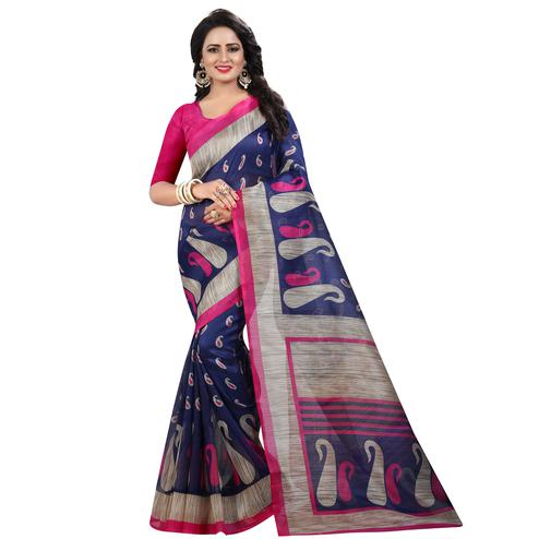 Flaunt Navy Blue Colored Casual Wear Printed Bhagalpuri Silk Saree