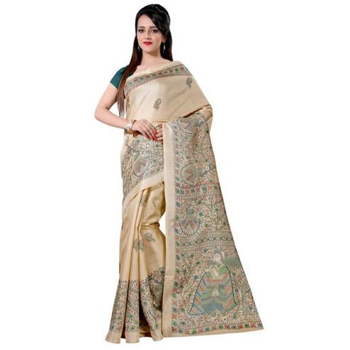 Appealing Cream Colored Casual Wear Printed Bhagalpuri Silk Saree