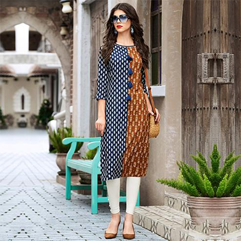 Blue & Brown Cotton Printed Designer Kurti