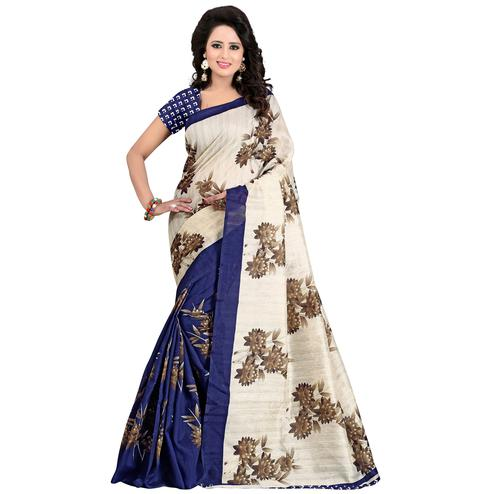 Groovy Navy Blue - Cream Colored Casual Wear Printed Bhagalpuri Silk Saree