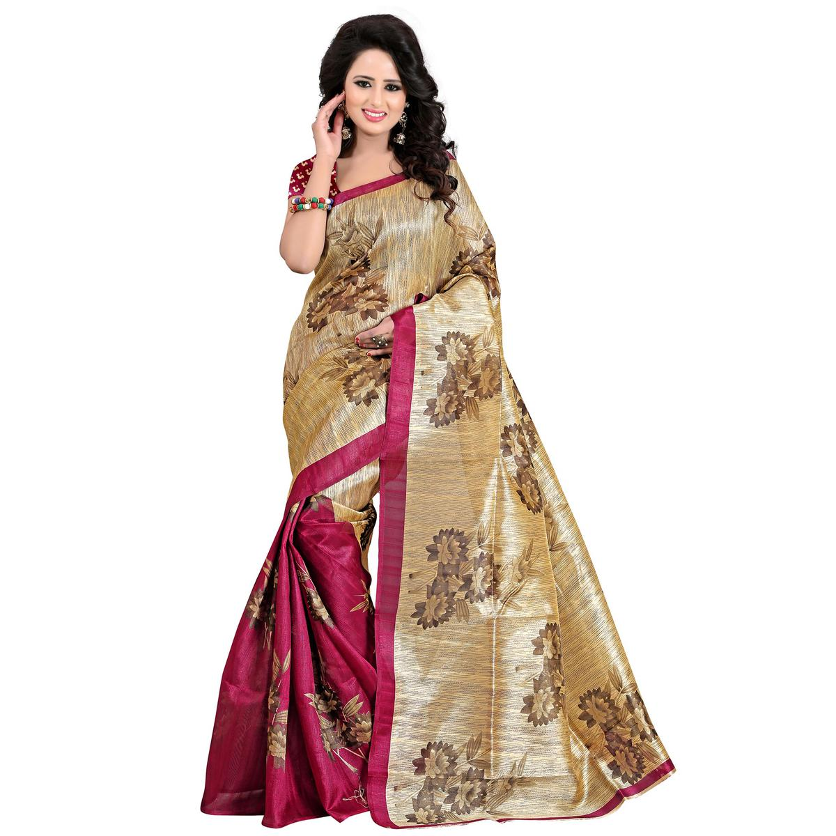 Prominent Magenta Pink - Beige Colored Casual Wear Printed Bhagalpuri Silk Saree