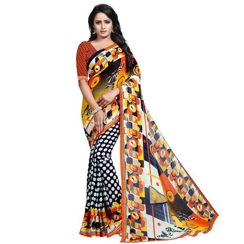 Intricate Multi Colored Casual Wear Printed Georgette Saree