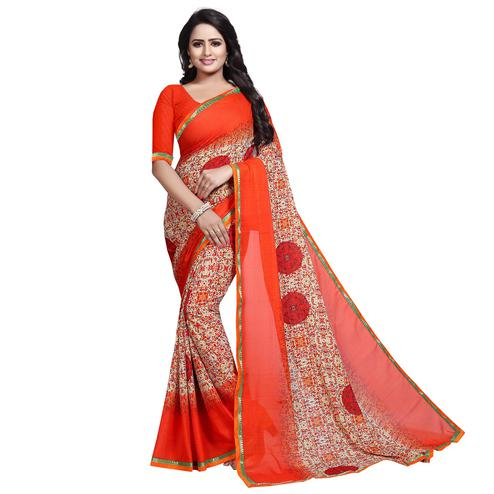Desirable Orange Colored Casual Wear Printed Georgette Saree