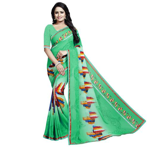 Sophisticated Green Colored Casual Wear Printed Georgette Saree