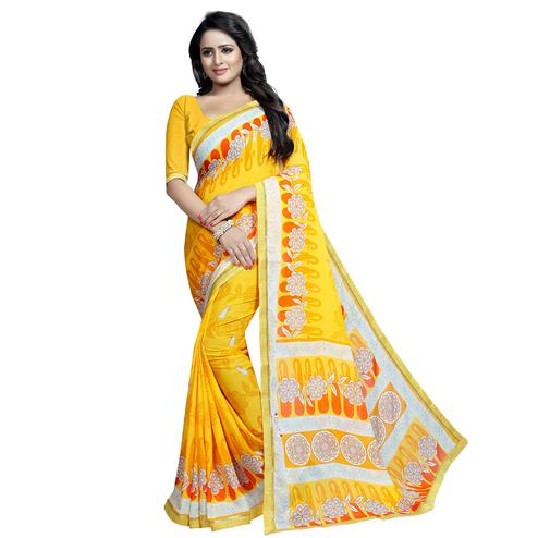 Demanding Yellow Colored Casual Wear Printed Georgette Saree