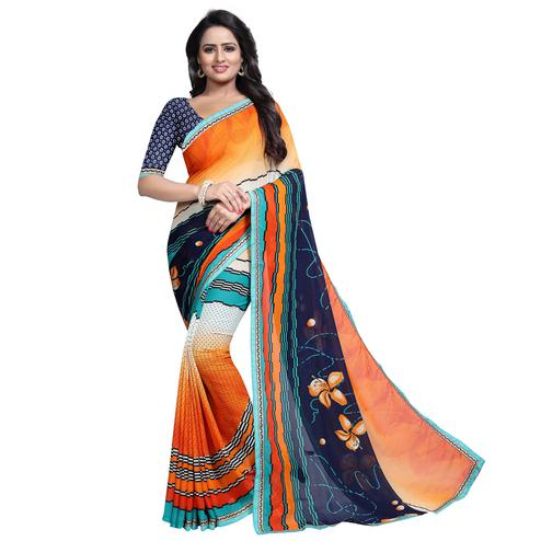 Pleasant Multi Colored Casual Wear Printed Georgette Saree