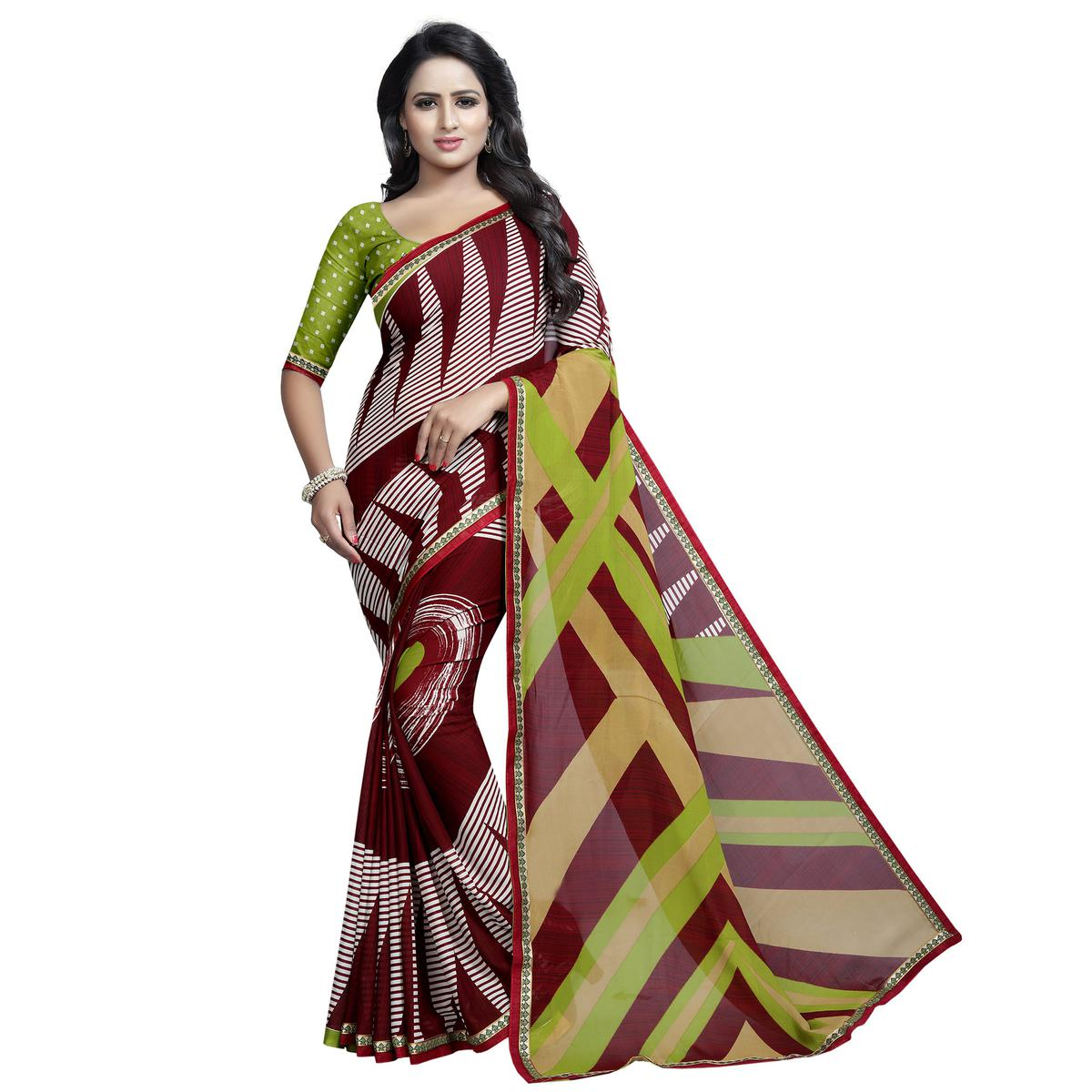 Refreshing Maroon - Multi Colored Casual Wear Printed Georgette Saree