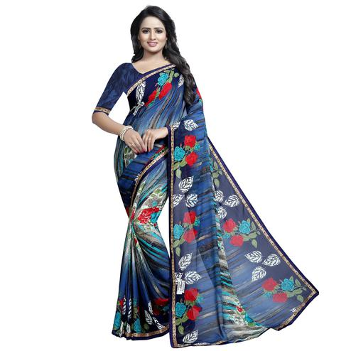 Elegant Blue Colored Casual Wear Printed Georgette Saree