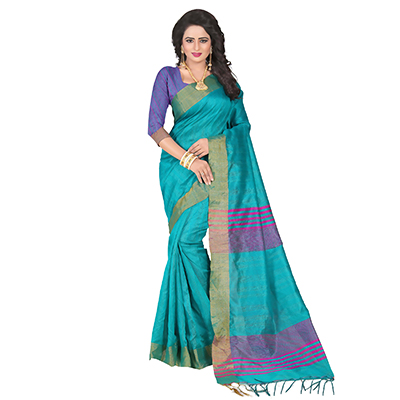 Gorgeous Green Festive Wear Cotton Saree