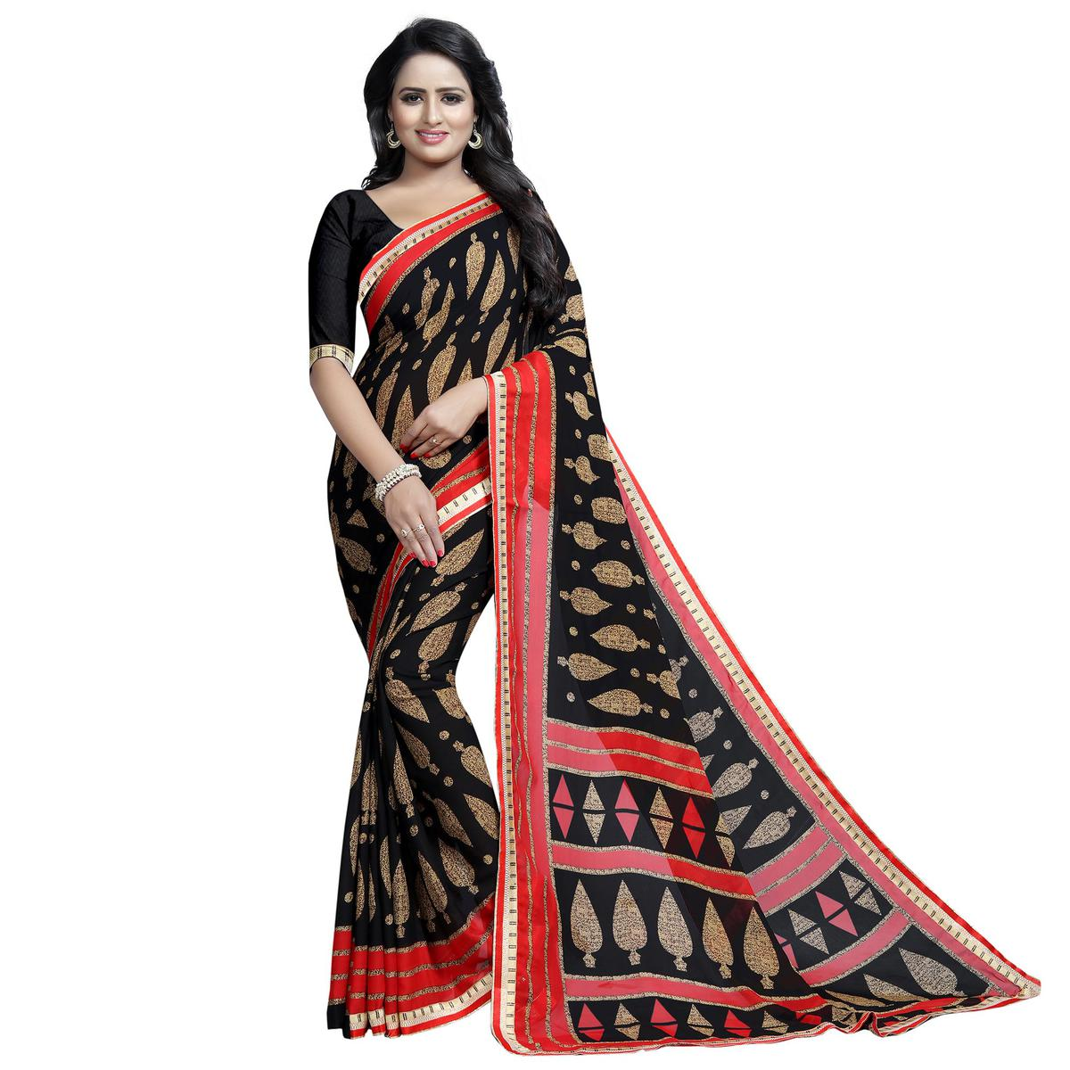 Alluring Black Colored Casual Wear Printed Georgette Saree