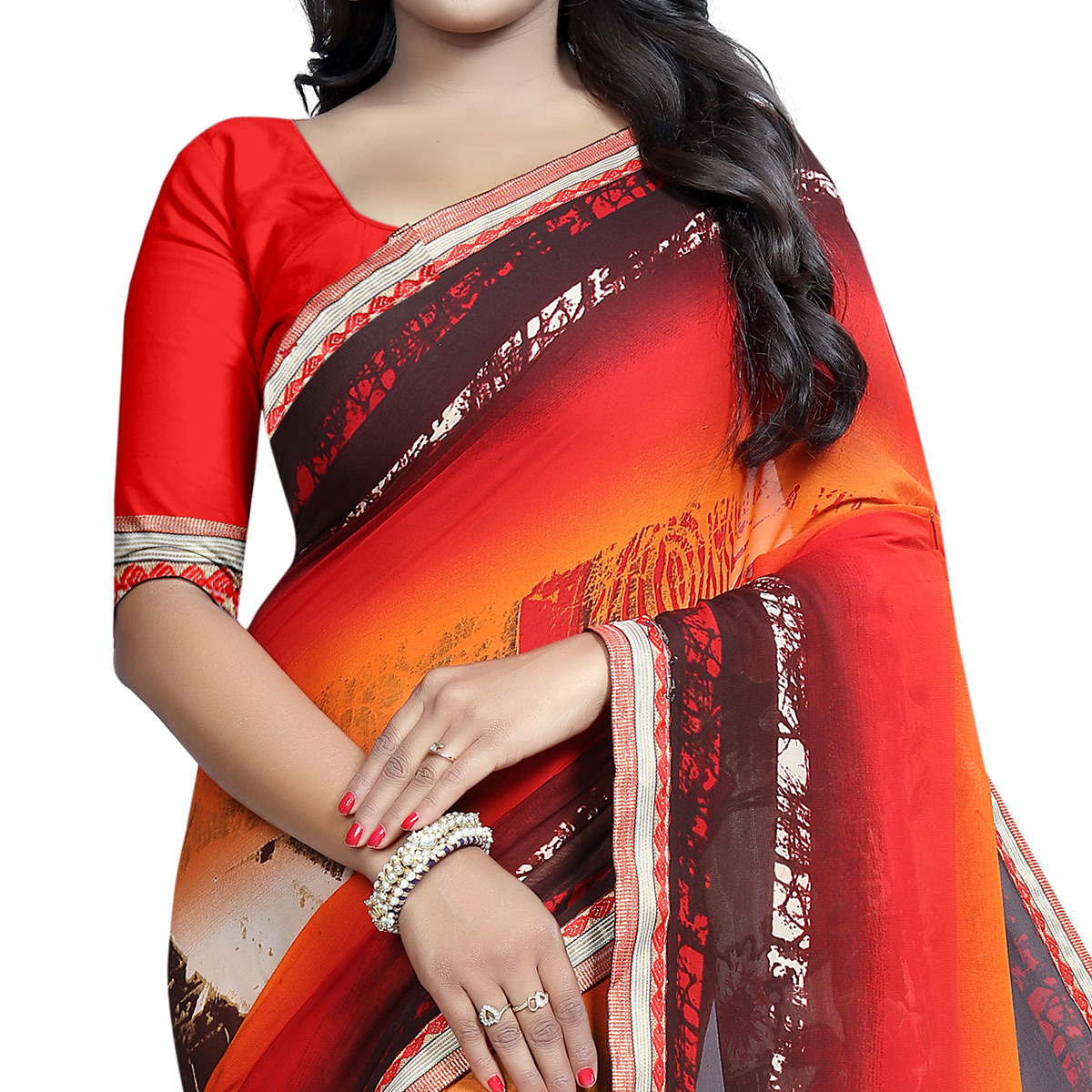 Sensational Multi Colored Casual Wear Printed Georgette Saree