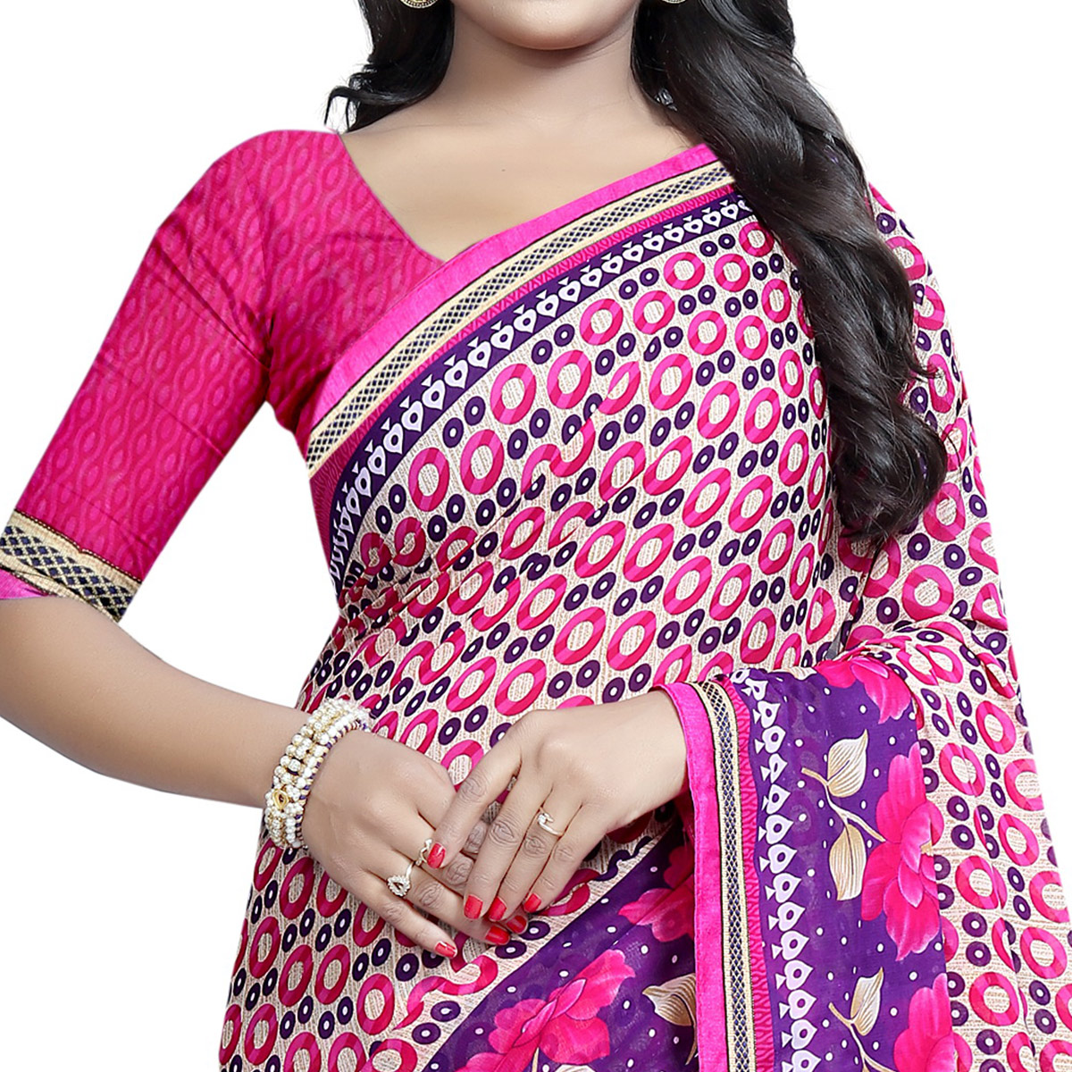 Opulent Pink Colored Casual Wear Printed Georgette Saree