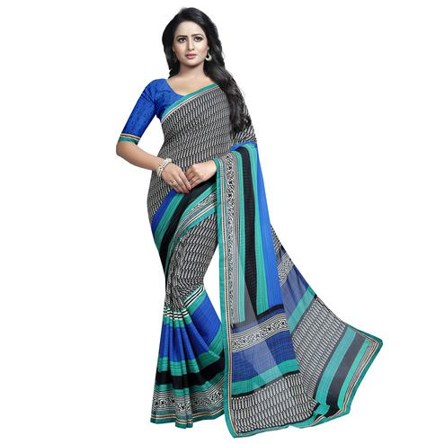 Dazzling Black Colored Casual Wear Printed Georgette Saree