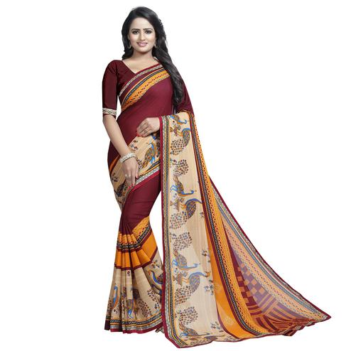 Breathtaking Maroon Colored Casual Wear Printed Georgette Saree