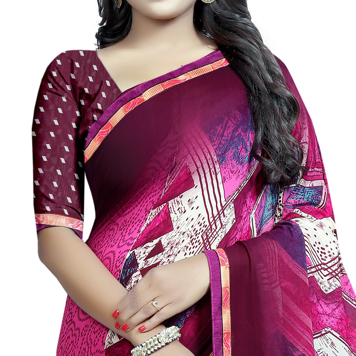 Impressive Pink Colored Casual Wear Printed Georgette Saree