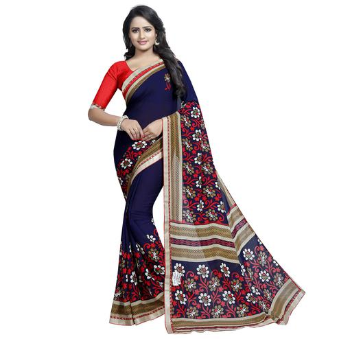 Innovative Navy Blue Colored Casual Wear Printed Georgette Saree