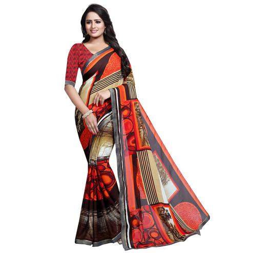 Gleaming Multi Colored Casual Wear Printed Georgette Saree