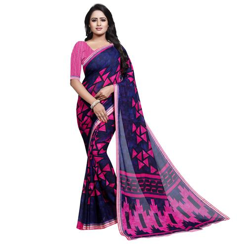 Arresting Blue - Pink Colored Casual Wear Printed Georgette Saree