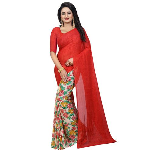 Arresting Red - Cream Colored Casual Wear Printed Georgette Saree