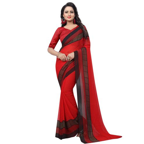 Exceptional Red Colored Casual Wear Printed Georgette Saree