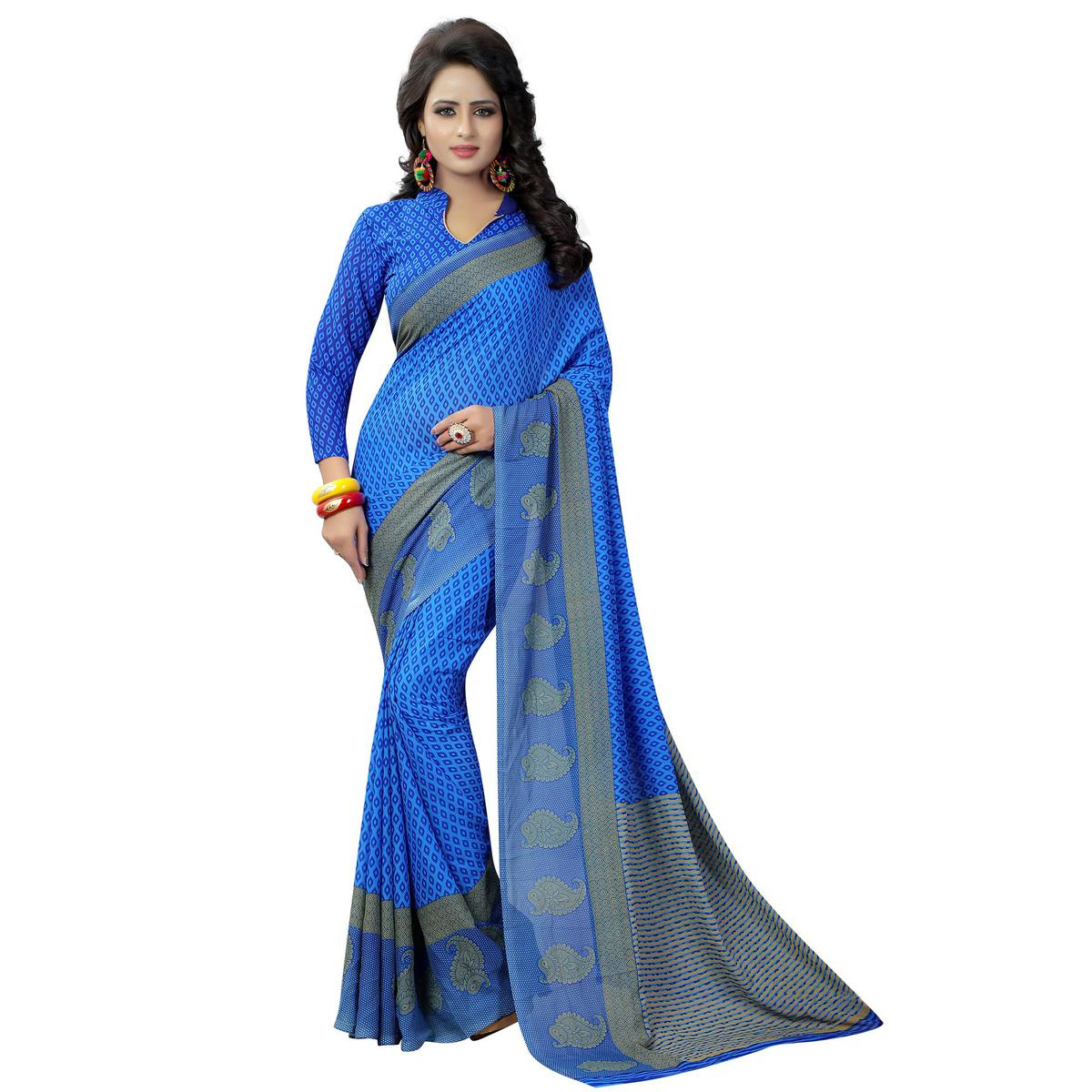 Excellent Blue Colored Casual Wear Printed Georgette Saree
