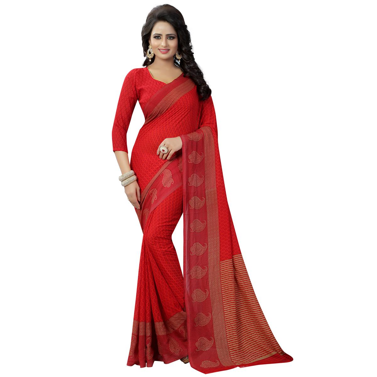 Ethnic Red Colored Casual Wear Printed Georgette Saree