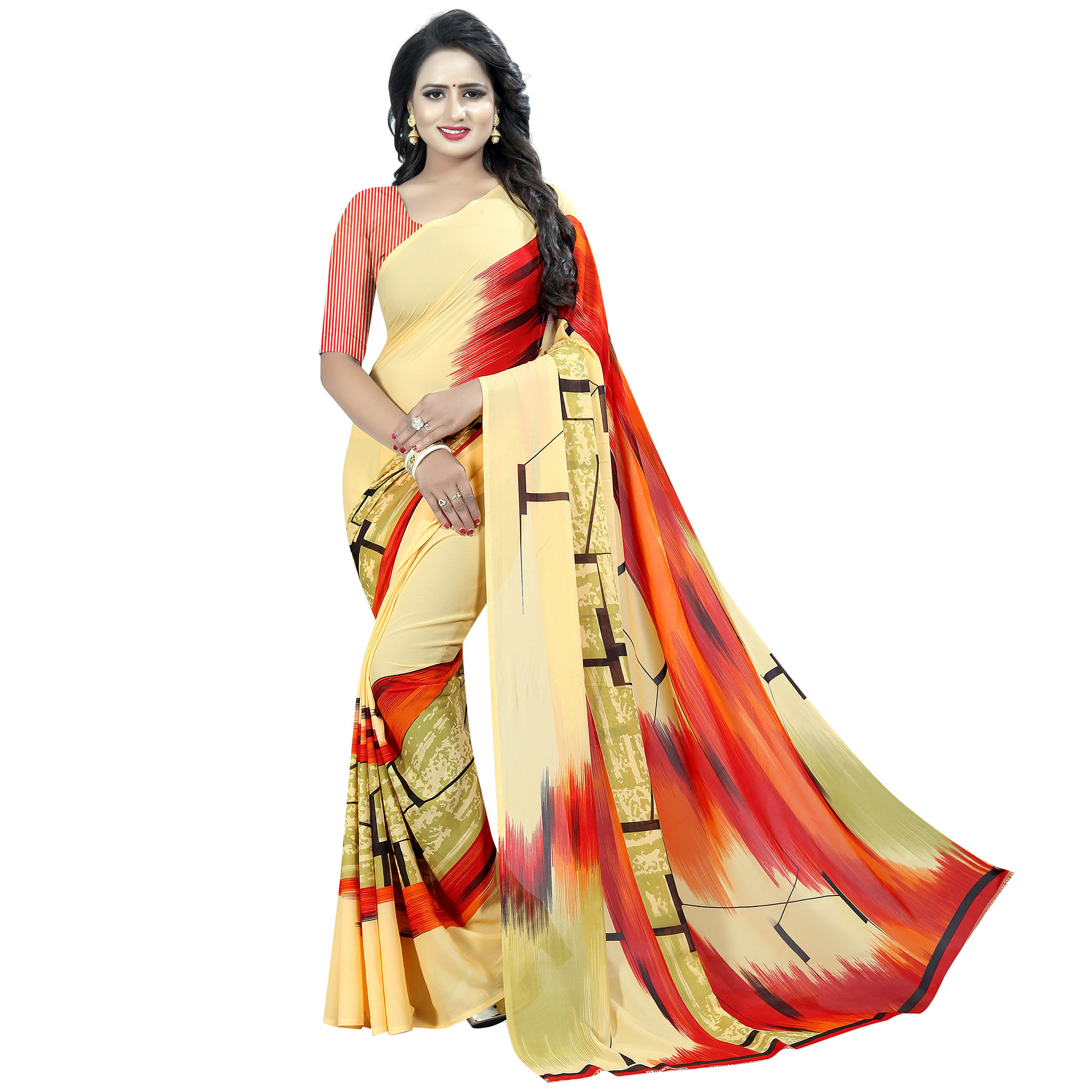 Starring Yellow Colored Casual Wear Printed Georgette Saree