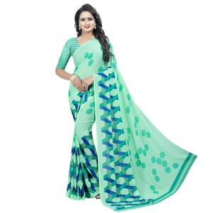 Flirty Aqua Green Colored Casual Wear Printed Georgette Saree