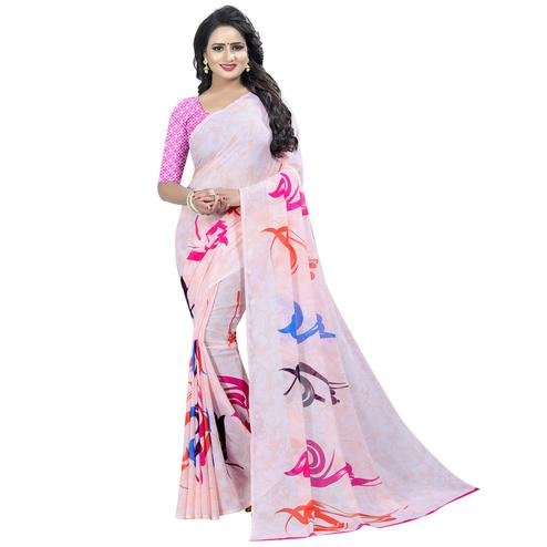 Glowing Light Pink Colored Casual Wear Printed Georgette Saree